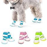犬用靴 お散歩 ドッグシューズ メッシュ マジックテープ ドッグブーツ 肉球保護 滑り止め ずれ防止 通気抜群 小型犬 一足分4個セット アスファルトからワンチャン 肉球を守る(ブルー)
