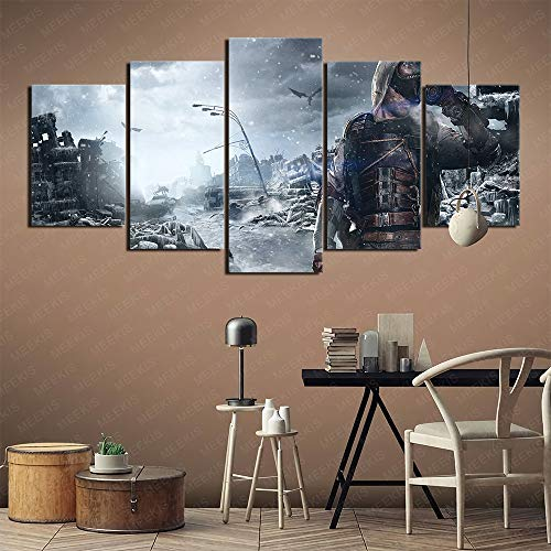 GBxebenYN02 Poster wall decoration Metro Exodus game original painting 5 pieces of five-piece canvas painting bedroom study 150x80cm frameless painting