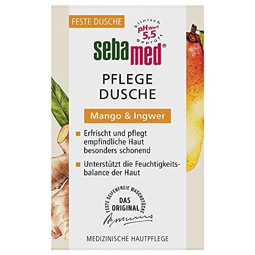 SEBAMED Pflegedusche mit Mango & Ingwer Feste Dusche, ohne Mikroplastik, ohne Mineralöle, hohe Ergiebigkeit, 100 g
