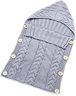 Wetieyi Newborn Baby Wrap Blanket Toddler Knniting Wool Blanket Sleeping Bag (Gray)