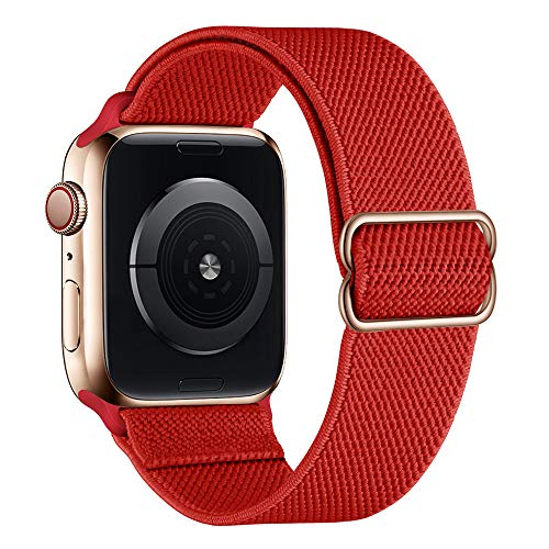 SIRUIBO Stretchy Nylon Solo Loop Bands Compatible with Apple Watch 42mm 44mm, Adjustable Stretch Braided Sport Elastics Women Men Strap Compatible with iWatch Series 6/5/4/3/2/1 SE, Light Red