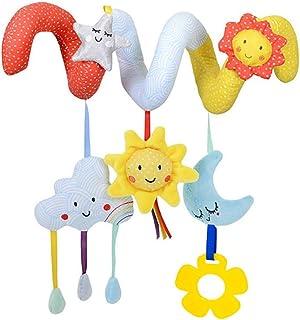 Newin Star Juego Cuna de bebé Juguetes Colgantes de la Felpa Juguetes Animales Espiral Cochecito bebé de Juguete con Mordedor (Nube y Sol)