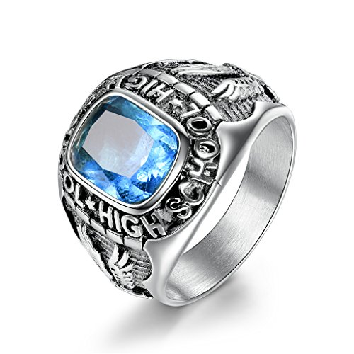 MASOP Fashion Stainless Steel Light Blue Rings for Men Engraved High School Flying Eagle Size 8