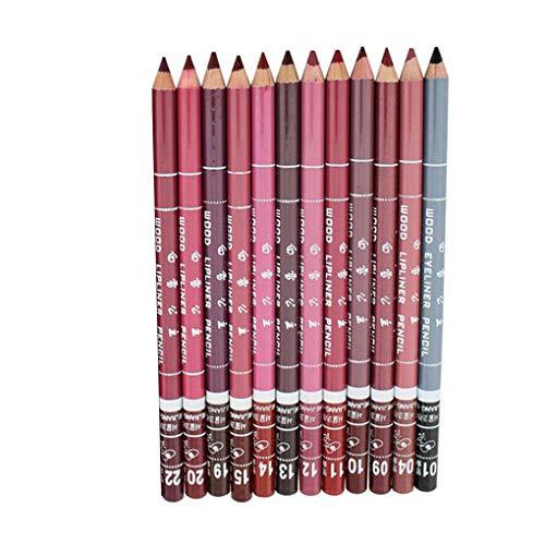 Lidahaotin 12pcs Femmes Matte Lipstick cosmétique imperméable Lip Liner Pen Crayon Couleurs Assorties de Maquillage Outils Kit