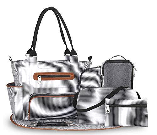 Etyybb 7 en 1 mochila para pañales, bolso ligero para cambiar pañales, mochila infantil de viaje para viajes al aire libre y camping -azul_L