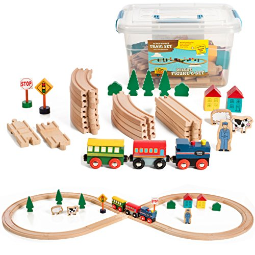 On Track USA Figure 8 Wooden Train Set, 35 Piece Deluxe Set- Comes in A Clear Container, Compatible with All Major Brands