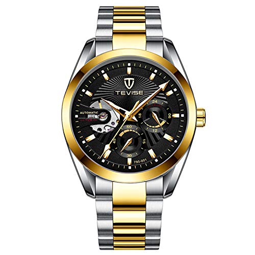 QZPM Hombres Automático Mecánico Relojes Acero Inoxidable Bracelet Multifunción Luminosa Impermeable Cronógrafo Analógico Business Relojes,Negro