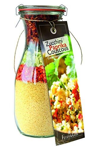 Gourmet Fertigmischung für Zucchini Paprika Couscous – Raffinierte Rezeptideen im Glas für leckere Gerichte – Gourmet Gemüsecouscous einfach kochen oder verschenken – von Feuer & Glas