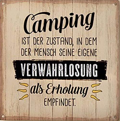 G.H. Vintage Retro Metallschild, Modell: Camping IST DER Zustand, Maße 19 x 19 cm, Creme, ideal für Camper, Zelter, Caravaner, Wohnmobilisten, oder einfach Zuhause.