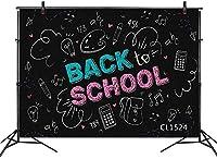新しい新学期の背景チョーク黒板写真の背景7x5ftファブリックキッズ学生学校式パーティーケーキテーブルバナー写真ブース背景小道具洗える
