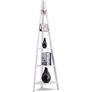 COSTWAY Estante de Esquina de Madera 5 Estante escalera de Salón de Pie para Baño CD Libros Planta Almacenamiento Blanco: Amazon.es: Bricolaje y herramientas