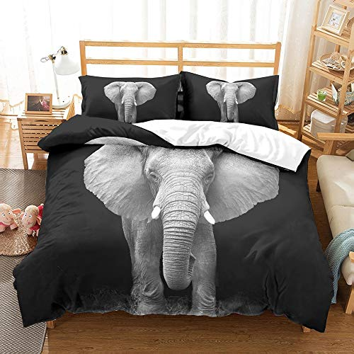 REALIN Fundas Nórdicas Animales Salvajes Elefantes Juego De Ropa De Cama Sunset Tropical Beach Animal World Elefante,2-4 PCS Fundas De Edredón Nórdico De Almohada Y Sábanas,para Cama 90/135/150/180