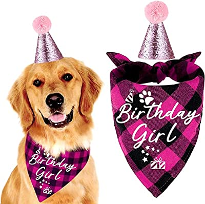 easycozy Classic Pink Plaid Pet Puppy Dog Bandana with Dog Birthday Party Hat Accessories, Girl Dog Birthday Bandana Scarf Bibs for Pet Birthday Outfit Party Supplies Set