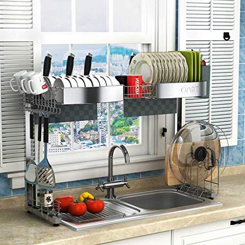 LIPENLI Blumenständer Dish Trocknende Rack über Waschbecken, Abtropfer Regal für Küchenbedarf Aufbewahrungszähler Organizer Utensilien Halter Edelstahlanzeige, 90x31x81.5cm Regal Rack