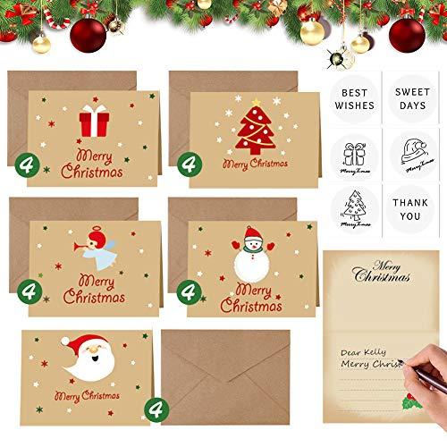 Weihnachtskarten mit Umschlag Set, 20 Stück Blanko Grußkarten mit Kraftpapier Briefumschläge und Frohe Weihnachten Aufkleber, Kleine Klappkarten Basteln Karten Geschenkkarten für Party Einladung
