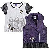 Disney Descendants Uma Mal Evie Little Girls T-Shirt Jacket Vest Set Purple 4-5