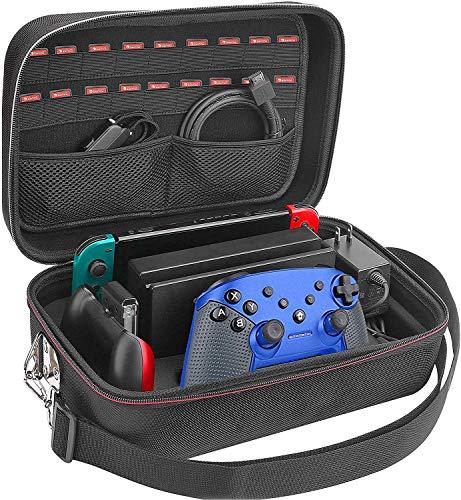 Custodia per Nintendo Switch Esclusiva Completa per Tutti gli Accessori Originali, Borsa Protettiva Grande Rigida da Viaggio con Tracolla