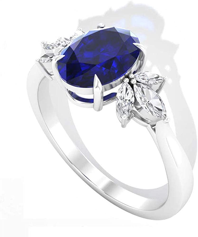 Antique 1.79 CT Blue Sapphire Lab Created Diamond Engagement Ring, Marquise HI-SI Diamond Petal Wedding Bridal Rings, Solitaire September Birthstone Promise Rings, 14K Gold