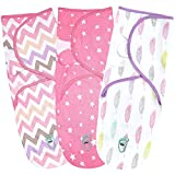 Baby Swaddle Wrap Blanket for Newborn & Infant, 0-3 Month Swaddlers Sack with Adjustable Wings, 3 Pack...