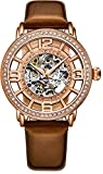 Stuhrling Original Womens Dress Watch with Brown Leather Strap - Skeleton Watch Self Winding Automatic Watch Mechanical Movement -Womens Watch Collection
