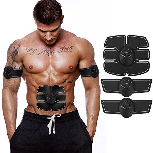 Neue Wireless Bauchmuskeln Fitness Gerät Bauchmuskeltrainer Elektrostimulation Massagegerät EMS-Training Muskelaufbau und Fettverbrennung (schwarz) ITERY