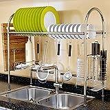 - Estantes para Fregadero de Cocina Cestas de Cocina Estante de Cocina de Acero Inoxidable con Gancho para Cocina Comedor Capacidad de Carga 50 kg 91 x 67 x 28 cm