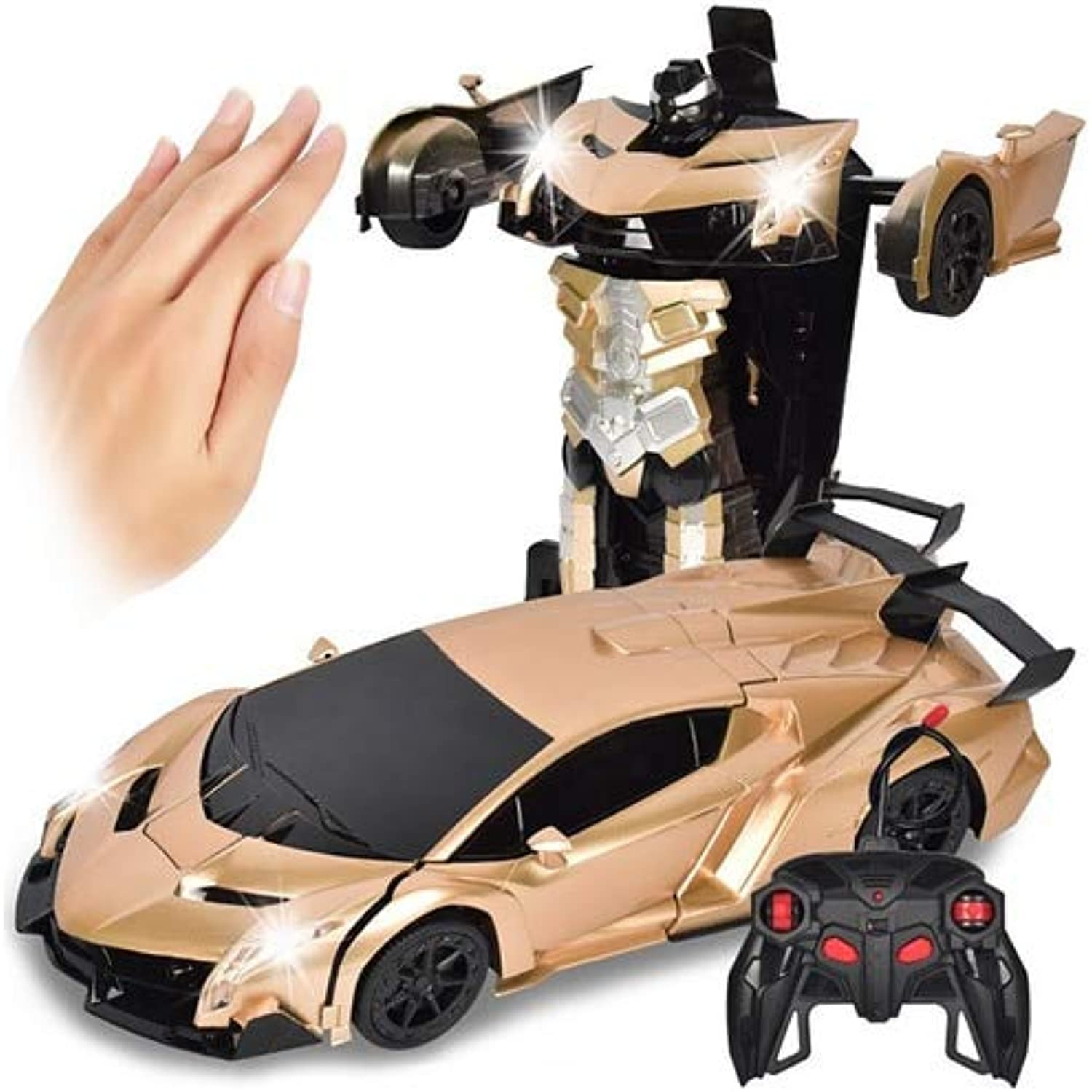 Generic 2 in 1 Gesture Sensing Robot One Button Transformation Remote Control Car Toy 1  12 RC Trucks Drift Toy Gift for Kids gold