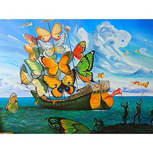 BFSA Salvador Dali Mariposa Barco Hermosa Pintura Tela de Seda Cartel de Pared decoración artística Listo para Colgar