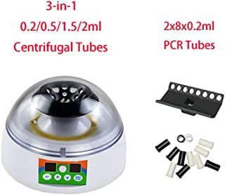 Mini Centrifuge, 1000-12000rpm Adjustable Benchtop Microcentrifuge Digital Display with 18-Place Rotor for 0.2/0.5/1.5/2ml Centrifugal Tubes and 16-Place Rotor for 0.2ml PCR Tubes