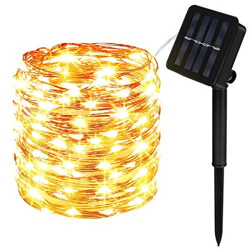 Solar Lichterkette Außen, Molbory 200 LED Lichterkette Mit 20M Kupferdraht 8 Modi Warmweiß Dekorative Lichterkette Wasserfest String Beleuchtung Ambiente für Garten, Schlafzimmer, Hochzeit
