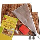 Macaron Baking Kit with Silicone Baking Mats | Macaroon Kit 8 PCS with BAKING GUIDE, TIPS & TRICKS | Non Stick & Reusable | Macaron Mats with Ridged Circles for Easy Piping | Macaroon Baking Supplies