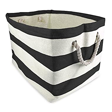 DII Woven Paper Storage Basket or Bin, Collapsible & Convenient Home Organization Solution for Office, Bedroom, Closet, Toys, & Laundry (Small - 11x10x9�), Black Rugby Stripe