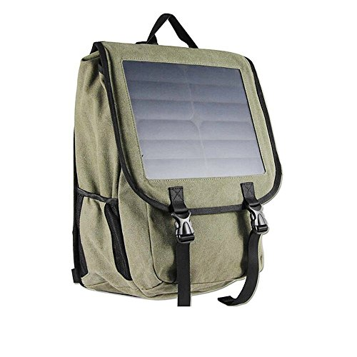 Superbag 618 Solar Power Backpack,38 L Canvas Material Bag,10 Watts Solar Battery Charger Backpack for iPhone, iPad, Samsung, Gopro Cameras etc. 5V Device