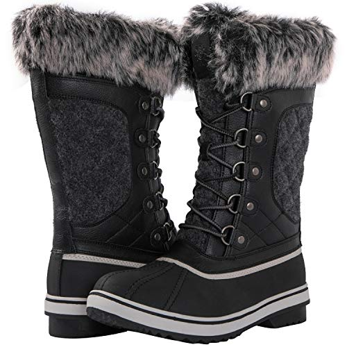 kingshow Globalwin Women's 1918 Black/Grey Winter Boots 9M