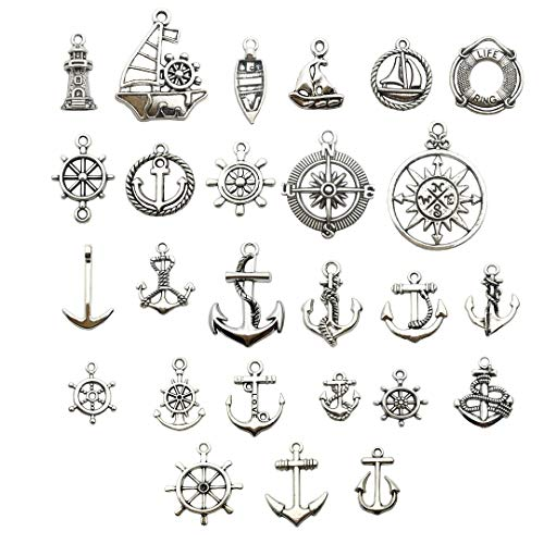 Nautical Charm Collection-50 Pcs Craft Supplies Nautical Ship Wheel Anchor lig Charms Pendants for Crafting, Jewelry Findings Making Accessory for DIY Necklace Bracelet (M066)