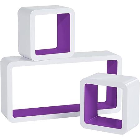 WOLTU Estantería de Pared Estantería Cubo Conjunto de 3 Estante Retro Colgantes CD Libreria Decorativo Baldas Flotante Pared Violeta Oscuro RG9229dla