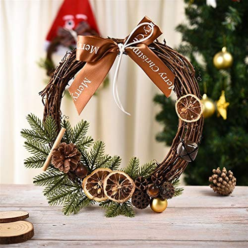 HNZXYM001 30cm Christmas Wreath Handmade Pendant Wreath Large Shopping Mall Home Decoration Christmas Tree Door Decoration Wreath (Color : Lemon)