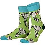 Unabux Socke - SHEEP WORLD - Socken grün mit weißen Schafen (36-40)