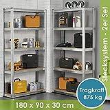Juskys 2er-Set Lagerregal Eco 2X 180x90x30cm