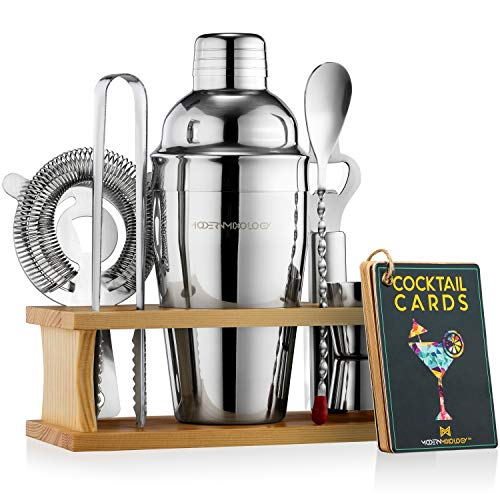Mixology Bartender Kit with Stand | Bar Set Cocktail Shaker Set for Drink Mixing - Bar Tools: Martini Shaker, Jigger, Strainer, Bar Mixer Spoon,...