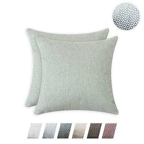 HPUK Woven Texture Decorative Throw Pillow Cover Pack of 2 Diamond Pattern Pillowcase Modern Farmhouse Euro Sham Cushion Cover 17x17 inch for Couch Sofa Living Room Office Car, Duck Egg