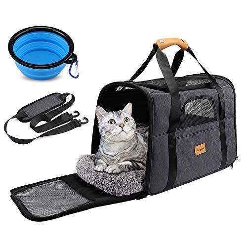 morpilot Hundetasche Transportbox, Atmungsaktive und Faltbare Hundebox, Katzen transportboxen mit Verstellbarem Schultergurt, Katzentransportkäfig mit Abnehmbarer Plüschmatratze + Schüssel
