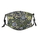 Reebos Cara de tela unisex Ma-sk William Morris con patrón de algas marinas con bandas de ajuste para la oreja, lavable, cubierta de boca para exteriores, deportes, ir de compras