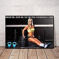 フィットネス女性ポスターセクシーポスターワークアウトポスターホームジムの装飾動機付けの壁アートパネルインスピレーションを与えるポスターキャンバスアートパネルジムの壁ポスター50x70cm /フレームなしI170