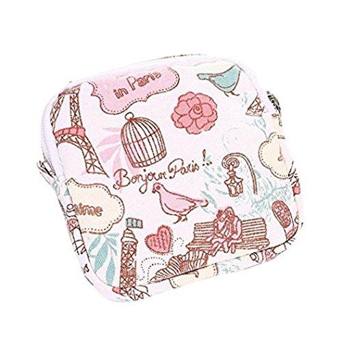 Fengzhicai Women Cute Zipper Coin Purse Sanitary Pad Napkin Towel Convenience Bags - Pink