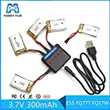 Parts & Accessories 5pcs 3.7V 300mAh 45C for E55 FQ777 FQ17W Battery with 1 to 5 Charger Cable for RC Quadcopter Spare Part