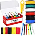24 Gauge Stranded Hookup Wire - Tinned Copper Silicone Coated Wires of 6 Colors (Black, Red, Yellow, Green, Blue, White) 29ft or 9m Each, Hook Up Wire Kit from Plusivo