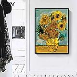 Geiqianjiumai Pintor Girasol Poster Art Print Dibujo Imagen decoración de la Pared Sala de Estar Moderna decoración del hogar Pintura Retro sin Marco 52x72cm