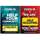 Corona Virus Community Support & Self Isolating Home Sign - A4 Safety Poster Kit With Glue Dots - Double Sided...