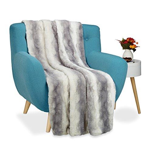 Relaxdays manta sofá de pelo xxl, Piel sintética, Color gris, 150 x 200 cm